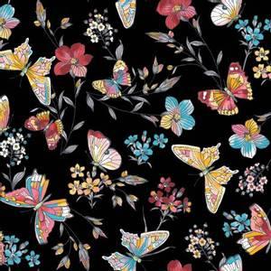 Bilde av Bomullstoff sommerfugler svart