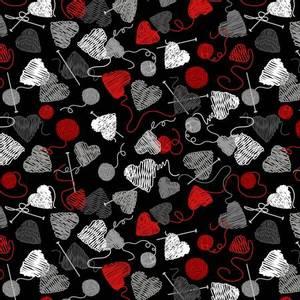 Bilde av Bomullstoff Hjerter Garn svart