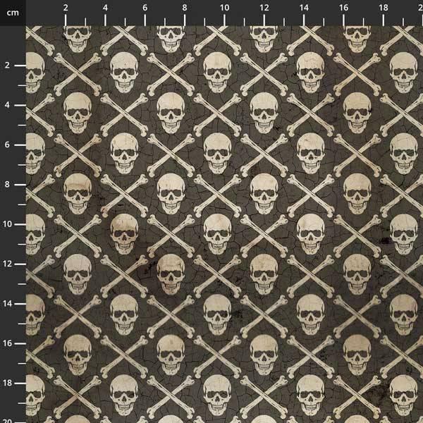 Bomull stoff Tim Holtz,- Regions Beyond skull