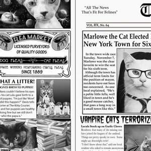 Bilde av Bomullstoff med katter nyheter print