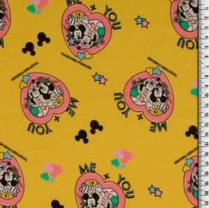 Bilde av BomullJersey med Mickey Mouse you and me gul