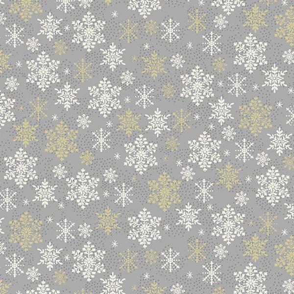 Bomull stoff Snø Sølv