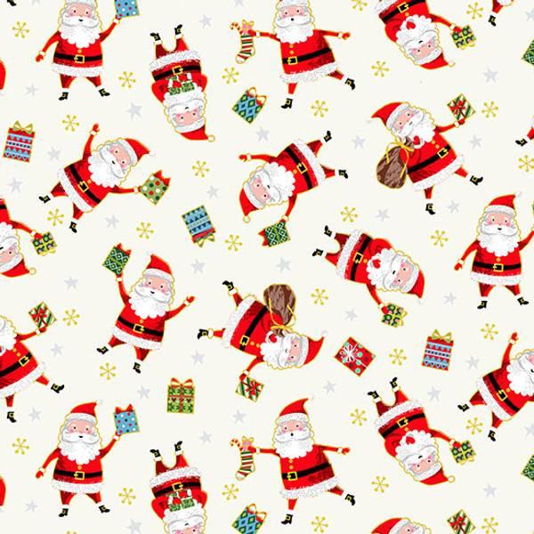 Bomull stoff Santa krem