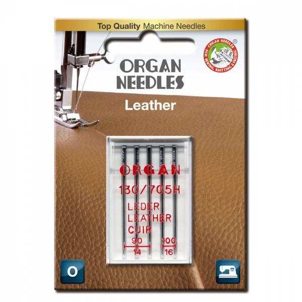 Organ symaskinnåler Skinn nål #90-100, 5 stk.