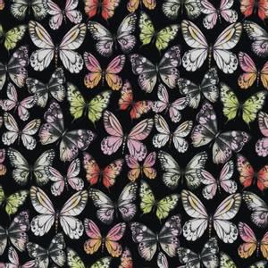Bilde av Bomullsjersey med sommerfugler svart