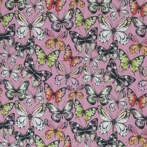 Bilde av Bomullsjersey med sommerfugler gammelrosa