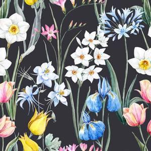 Bilde av Viskose jersey Blomster svart