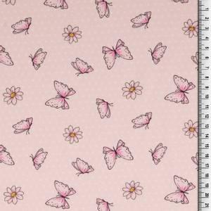Bilde av Bomull stoff med sommerfugler lys rosa
