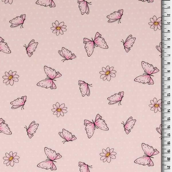 Bomull stoff med sommerfugler lys rosa